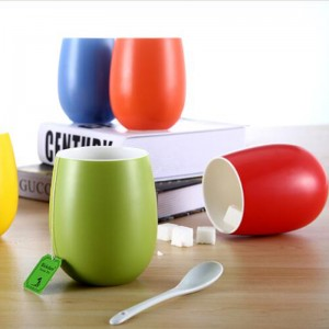 Wholesale color glazed ceramic mugs handless coffee mugs with good quality